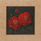 Red Carnation with Border II Poster by T. C. Chiu