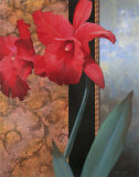 Red Lily with Teal Damasque Art by T. C. Chiu
