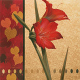 Red Amaryllis with Damasque Prints by T. C. Chiu