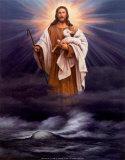 Jesus mit Lamm Poster von T. C. Chiu