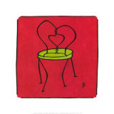 Chair on Red Prints by Joyce McAdams