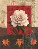 White Chinese Rose Posters by T. C. Chiu