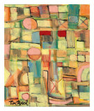Blocks with Red Print by Lynne Taetzsch