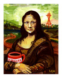 Starbucks with Mona Lisa Giclee Print by Leone Ardo