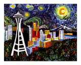 Space Needle with Starry Night Giclee Print by Leone Ardo