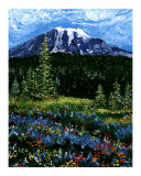 Mt Rainier Blue and Red Flowers Giclee Print by Leone Ardo