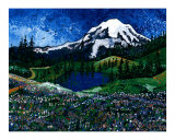 Mt Rainier Blue Sky Giclee Print by Leone Ardo