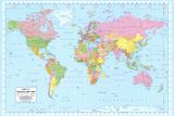 Mapa mundial político Pósters