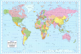 Politisk världskarta, engelska Posters