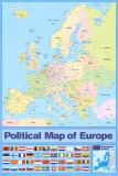 Political Map of Europe, Poster
