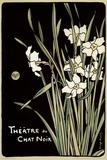 Theater van de zwarte kat (bloemen) Poster