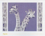 Two Giraffes Print by Javier Palacios