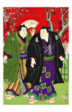 Sumo Wrestlers Strolling Under Cherry Blossoms Giclee Print