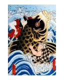 Samurai Wrestling Giant Koi Giclee Print