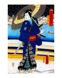 Kabuki Stroll on Japanese Bridge Giclee Print