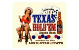 Texas Hold 'Em Amber Beer Giclee Print