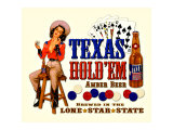 Texas Hold 'Em Amber Beer Giclee Print