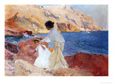 Clotilde and Elena on the Rocks, Javea Giclee Print by Joaqu&#237;n Sorolla y Bastida