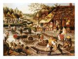 Spring: Gardeners, Sheep Shearers and Peasants Merrymaking Poster von Pieter Bruegel the Elder