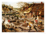 Spring: Gardeners, Sheep Shearers and Peasants Merrymaking Poster by Pieter Bruegel the Elder