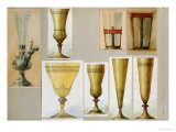 A Selection of Designs from the House of Carl Faberge Including Crystal Vases, Champagne Flutes Giclee Print by Carl Faberge