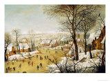 A Winter Landscape with Skaters and a Bird Trap Gicleetryck av Pieter Bruegel the Elder