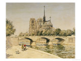 Notre Dame and the Seine Poster by Jean Francois Raffaelli