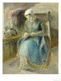 Woman Sewing Prints by Camille Pissarro
