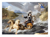 An Allegory of King Louis XIV in Armour Hailed as King of the Sea by the Personification of France Reproduction proc&#233;d&#233; gicl&#233;e par Jean Nocret