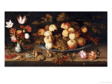 Fruit on a Dish, Flowers in a Wanli Kraak Porselein Vase, Sprigs of Cherries and Redcurrants Print by Balthasar van der Ast