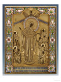 A Shaded Enamel Silver-Gilt Icon of the Mother of God Giclee Print by Klebnikov