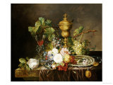 A Still Life with Roses, Carnations, an Iris, Grapes, a Silver Plate, Two Medalions Giclee Print by Emily Stannard