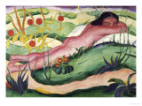 Nude Lying in the Flowers Giclee Print by Franz Marc