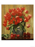 Tulips in a Porcelain Vase Giclee Print by Peter Johan Schou