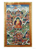A Tibetan Thang.ka, Buddha Shakyamuni Surrounded by Many Scenes from His Previous Lives, 18th C Giclee Print