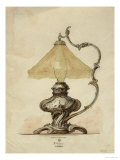 A Drawing of a Silver Table Lamp with a Twisted Fluted Body in Rococo Style Giclee Print by Carl Faberge