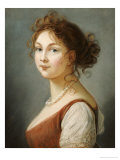 Portrait of Louisa, Queen of Prussia, Bust Length in a Terracotta Dress with White a Pearl Necklace Reproduction procédé giclée par Elisabeth Louise Vigee-LeBrun