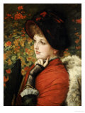 Type of Beauty: Portrait of Mrs. Kathleen Newton, in Red Dress and Black Bonnet Giclee Print by James Tissot