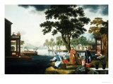 Summer: a Family Fishing by a Lake Giclee Print