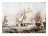 The Battle of Traflagar: the Victory Breaking the Line Giclee Print by George Chambers