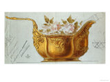 A Drawing of a Large Gilt Metal Kovsh in the Louis XV Style Giclee Print by Carl Faberge
