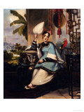 Portrait of a Girl, Seated Small Full Length in a Blue Robe, Holding a Fan by a Window with Parrot Posters by George Chinnery