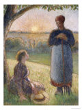 Country Women Chatting, Sunset, Eragny Print by Camille Pissarro
