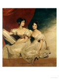 A Double Portrait of the Fullerton Sisters, Seated Full-Length, in White Dresses Print by Thomas Lawrence