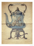 A Shaped Silver Kettle and Stand Giclee Print by Carl Faberge