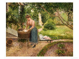 Washerwoman at Eragny Prints by Camille Pissarro