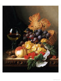 A Basket of Grapes, Raspberries, a Peach and a Wine Glass on a Table Giclee Print by Edward Ladell