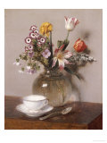 A Vase of Flowers with a Coffee Cup Premium Giclee Print by Henri Fantin-Latour
