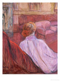 Woman Sat on a Red Settee Posters by Henri de Toulouse-Lautrec