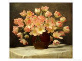 Tulips in a Vase on a Draped Table Giclee Print by Peter Johan Schou